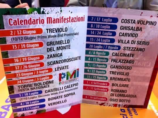 Calendario Feste.Calendario Feste De L Unita Circolo Di Zanica Grassobbio